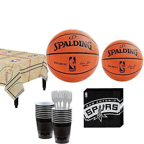 Party City San Antonio Spurs Party Kit 16 Guests, Includes Table Cover, Plates, Napkins and More -