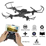Nesee 2.4G 4-Channel 6Axis Altitude Hold HD Camera RC Quadcopter Drone Selfie Foldable (Black)