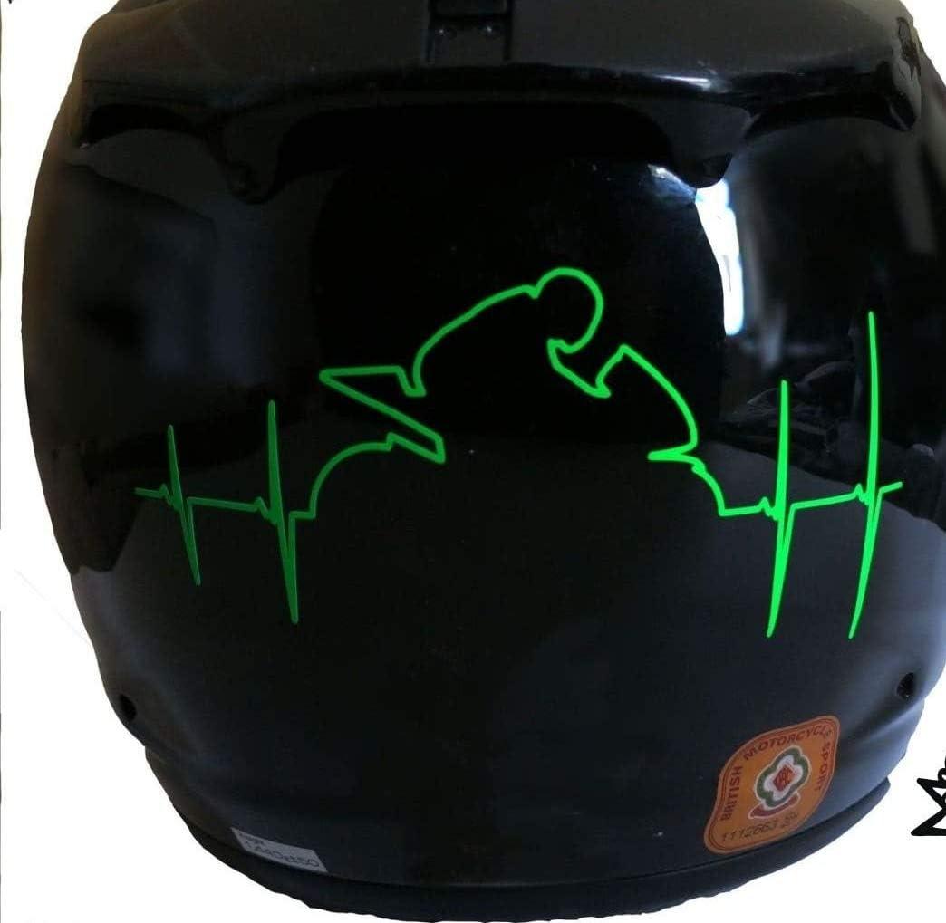 Myrockshirt Herzschlag Reflex Leucht Folie Motorradhelm Aufkleber Sticker Auto