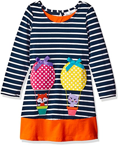Rare Editions Little Girls' Striped Applique Dress, Navy/White, 6