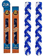 Ner Mitzvah Braided Havdalah Candle - 2-Pack - Blue and White Paraffin Wax - Handcrafted Havdallah Candle - Shabbat Judaica Gift