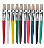 Charles Leonard Creative Arts Flat Tip Paint Brushes, Short Stubby Plastic Handle with Hog Bristle, 7.5 Inch, Assorted Colors, 10-Pack (73290)