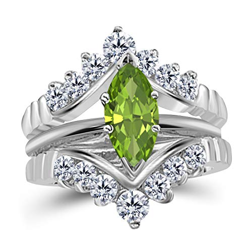 Gems and Jewels 0.75 Ct Marquise Solitaire Engagement Wedding Ring Band Set Enhancer Peridot 14k White Gold Plated Alloy