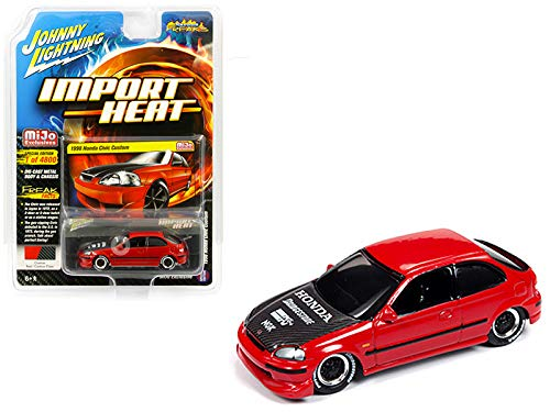 Diecast Import Cars - 1998 Honda Civic Custom Red with Carbon Hood Street Freaks Series Limited Edition to 4,800 Pieces Worldwide 1/64 Diecast Model Car by Johnny Lightning JLCP7173