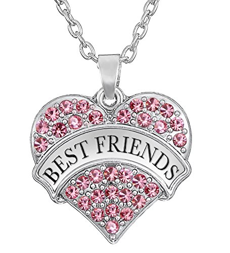 BEST FRIENDS Silver Tone Heart Necklace Choose Pink or Clear Crystals for BFF Besties Sisters Girls Teens (Silver Best Friend Heart)