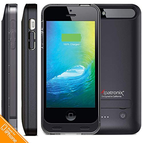 Alpatronix [BX120/121] 2400mAh Slim Rechargeable Protective External Portable Battery Case for iPhone 5, iPhone 5S & iPhone SE Juice Bank Power Pack Extended Charging Cover [MFi Certified] - Slate
