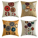 MIULEE Pack of 4, Flower Decoration Linen Burlap Decor Outdoor Square Throw Cushion Cover Cushion Case for Living Room Sofa Bedroom Car 18 x 18 Inch 45 x 45 cm