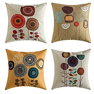 MIULEE Pack of 4, Flower Decoration Linen Burlap Decor Square Throw Cushion Cover Cushion Case for Living Room Sofa…