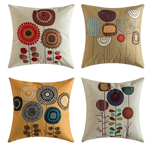 MIULEE Pack of 4, Flower Decoration Linen Burlap Decor Outdoor Square Throw Cushion Cover Cushion Case for Living Room Sofa Bedroom Car 18 x 18 Inch 45 x 45 Cm (Outdoor Pillows Cushions And)