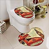 cushioned toilet seat uk iPrint 2 pcs Toilet Cover Set Non-Slip mat Bathroom Non-Slip mat,London with National Flag UK Great Britain Old,3D Print Heart Shape Toilet seat Cushion Customized Fashion