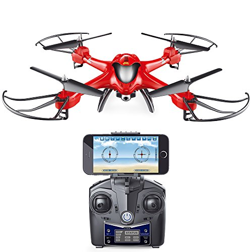 Holy-Stone-HS200-FPV-RC-Drone-with-HD-Wifi-Camera-Live-Feed-24GHz-4CH-6-Axis-Gyro-Quadcopter-with-Altitude-Hold-Gravity-Sensor-and-Headless-Mode-RTF-Helicopter-Color-Red