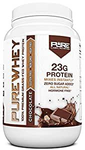 Grass Fed Whey Protein Powder   Chocolate 2lb Whey from Grass Fed California Cows   100% Natural Whey w/ No Added Sugars   rBHG Free + GMO-Free + Gluten Free + Preservative Free   PURE Whey