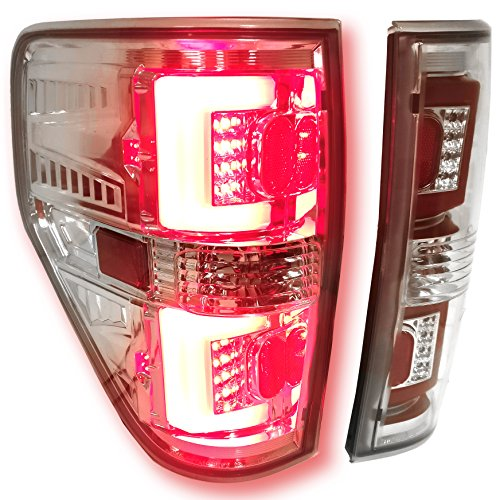 AJP Distributors Replacement Upgrade Rear Running Led Tail Lights For Ford F150 XL XLT STX FX2 FX4 2009 2010 2011 2012 2013 2014 09 10 11 12 13 14 (Chrome Housing Clear Lens Red Tube)