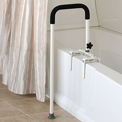 Sammons Preston Floor to Tub Bath Rail, Curved Grab Bar with 200 lbs Capacity for Shower or Bathtub, Rail Clamps and Tightens to Tub Wall, Fits Most Modern Bathtubs, 34