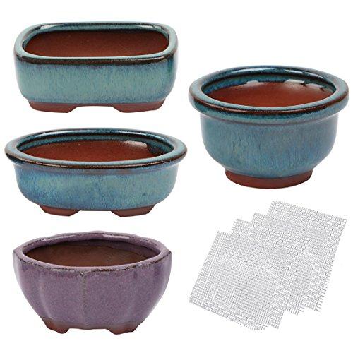 Happy Bonsai 4 pc Mini Glazed Pots Value Set + 4 Soft Mesh Drainage Screens
