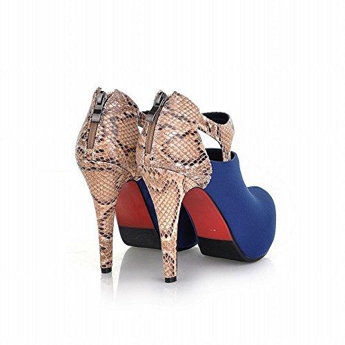 Carol Scarpe Sexy Donna Cerniera Multicolor Snakeskin Modello Moda Piattaforma Tacco Alto Stivali Caviglia Blu