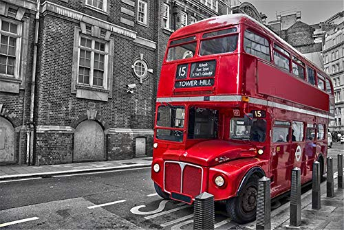 Queenie 1000 Piece London Red Vintage Double Layer Bus Wooden Jigsaw Puzzle Games Relax Your Mind Puzzle Boxes Toys Photo Frame Gifts from Queenie