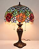 16''W Roses Peony Jeweled Stained Glass Tiffany Style Table Desk Lamp, Zinc Base