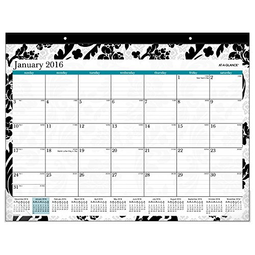 AT-A-GLANCE Desk Pad 2016, Madrid, 12 Months, 22 x 17 Inch Page Size (SK93-704-16)