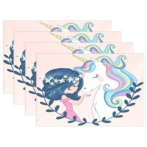 WOOR Cute Girl with Unicorn Placemats for Dining Table Heat Resistant Kitchen Table Decor Washable Table Mats 1 Piece ...