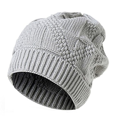 PASATO Men Women Keep Warm Knit Baggy Beanie Oversize Winter Hat Ski Simple and versatile Slouchy Chic Cap (Gray,Free - Hat Red Straw Gambler