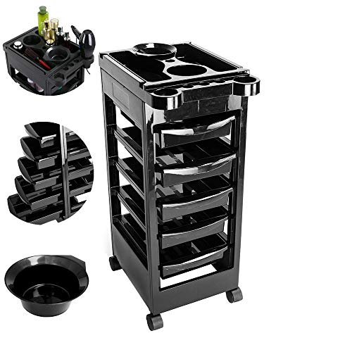 SSLine Salon Trolley 5-Layer Barber Rolling Cart with Drawers Hairdressing Tool Storage Cart Organizer with Wheels Barber Beauty SPA Mobile Trolley Cart with Dryer Holder