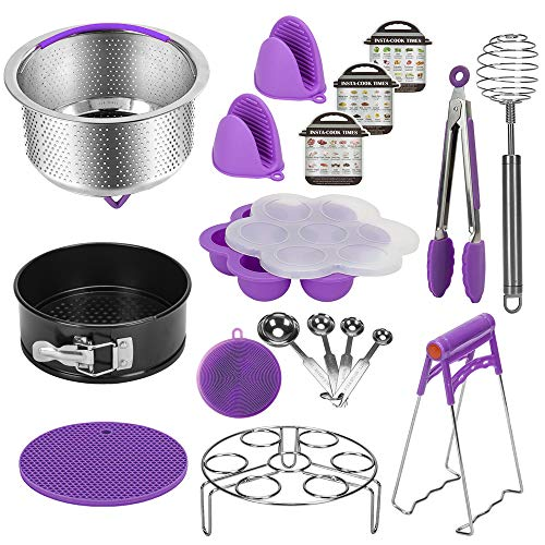 Instant Pot Accessories Set Compatible with 6,8 Qt, Ninja Foodi 8qt - Stainless Steel Steamer Basket, Springform Pan, Egg Steamer Rack, Silicon Egg Bites Mold and More (PURPLE)