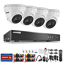 ANNKE UltraHD 3MP 4CH Video Security System with (4) 2048TVL 3.0-Megapixel Weatherproof IP66 Metal Housing Dome Cameras, 66ft IR LED Night Vision, NO HDD Included, Smartphone View