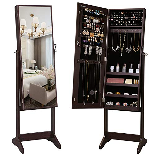 SONGMICS Mirrored Jewelery Cabinet Armoire, Free Standing Full Body Larger Mirror Jewelry Organizer Lockable, Narrow Bezel, Brown UJJC69BR