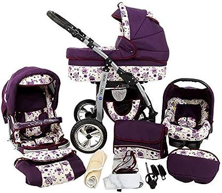 Cochecito de bebe 3 en 1 2 en 1 Trio Isofix silla de paseo D-Deluxe by SaintBaby búho lila 3in1 con Silla de coche
