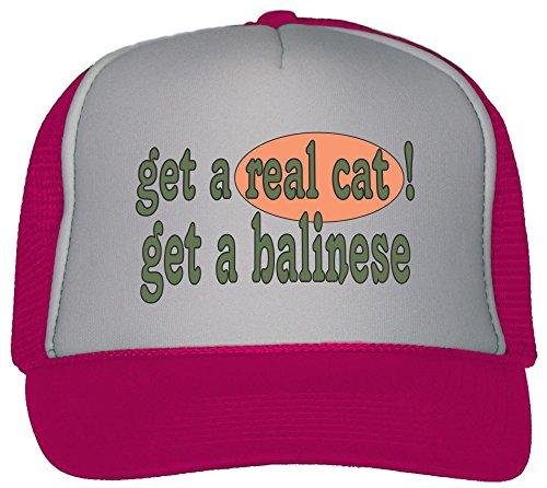T-ShirtFrenzy Get A Real Cat! Get A Balinese Trucker Hat Cap Hot Pink (Hat Balinese)