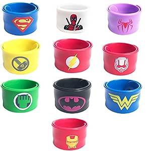 KRUCE 10 Piezas Superhéroe Slap Pulseras,Adecuado para niños y niñas, Bandas Slap de Superhéroe Fiesta de Cumpleaños Suministros Favores