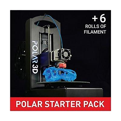 Polar 3D 394209 Printer Starter Pack, 1 Printer, 6 rolls of 1 kg Filament
