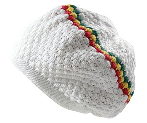 RW Men's Cotton Rasta Beanie (White/Rasta)
