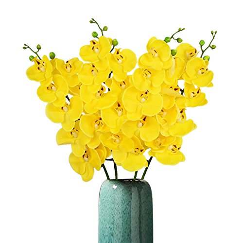 Sunm boutique 4 Pack Phalaenopsis Orchid Artificial Flowers Artificial Butterfly Orchid Flower Plants Wedding Home Decor