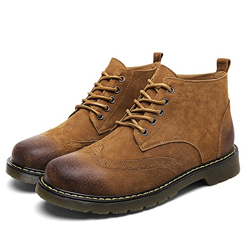 Leather Brown Boot Casual Winter Ankle SUNROLAN up Chukka Shoes Suede Fashion Boots Lace Men's aUxRxH