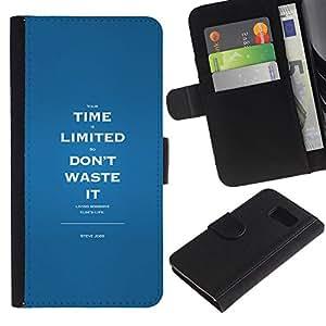 KLONGSHOP / Tirón de la caja Cartera de cuero con ranuras para tarjetas - Time Limited Waste Inspiring Message - Samsung Galaxy S6 SM-G920