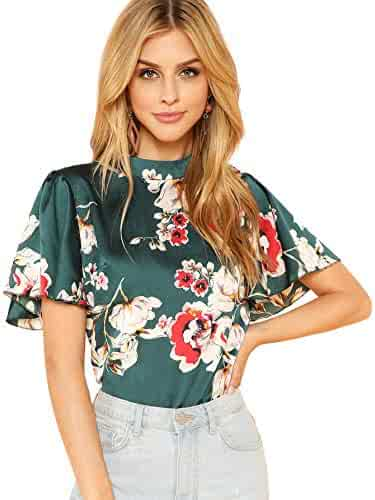 e89421336 Romwe Women's Floral Print Butterfly Sleeve Mock Neck Casual Blouse Top