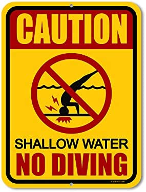 "Honey Dew Gifts Pool-Schilder, Aufschrift ""Caution Shallow Water No Diving"", 22,9 x 30,5 cm, hergestellt in den USA"