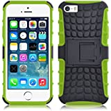 iPhone 5s Case - ALLIGATOR Heavy Duty Rugged Double Protection Back Cover for iPhone 5 / 5S / SE, Lime Green
