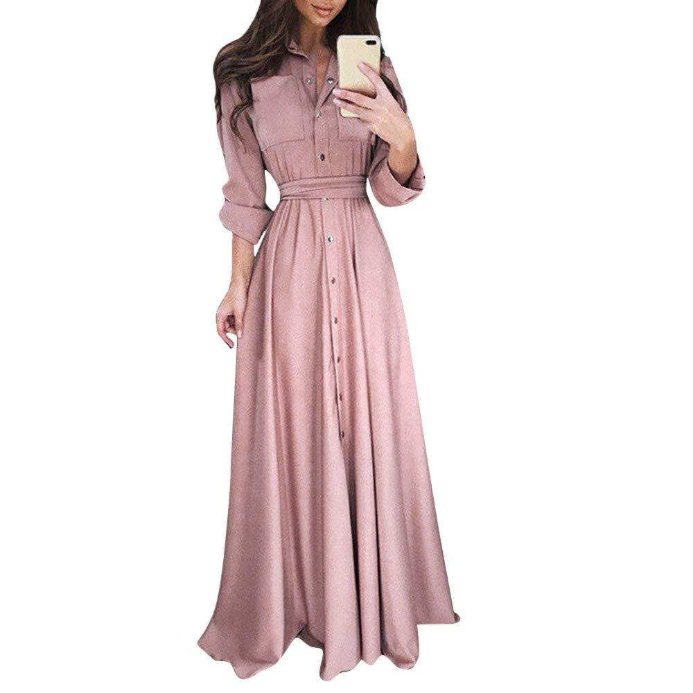 Qvwanle Womens Lady Casual Tie Waist Fashion Long Sleeve Lapel Maxi Long Dress Solid Shirt Dress (XL, Pink)