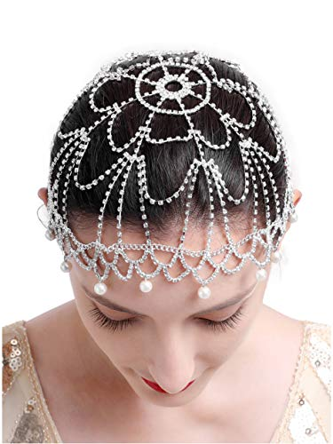 20s Headpiece 1920s Accessories Flapper Headband Crystal Cap Art Deco Hair Piece Wedding (1-Silver) -