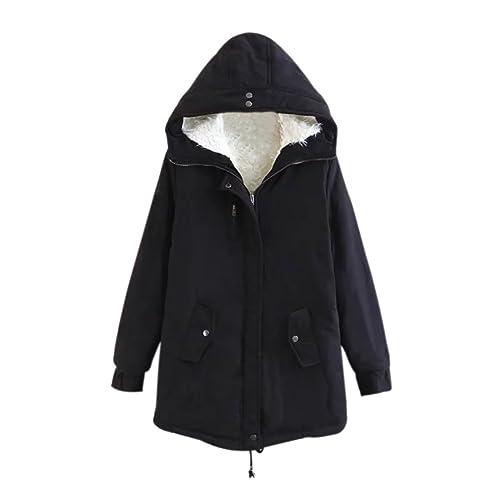 iBaste Medio-largo Abrigos de Paño Mujer Invierno Manga Larga Chaqueta Military Jacket