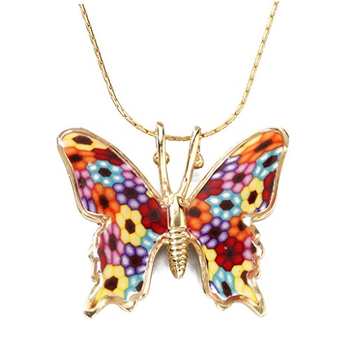 (Gold Plated Sterling Silver Butterfly Necklace Multi-Colored Polymer Clay Charm, 16.5