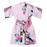 TOLLION Girls' Peacock Satin Kimono Robe Bathrobe Nightgown Wrap Sleepwear (4T, Pink)
