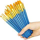 #2: Heartybay Professional Paints Brushes Set 8 Pack, Nylon Hair Brush Sets Acrylic Blue Round Pointed Paint Bristle for Watercolor Oil Painting & Gouache Art, Perfect for Kids Beginner and Artist