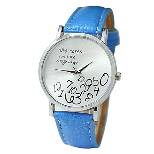 Meily Fashion Women's Who Cares I am Late Anyway Letter PU Leather Wrist Wathces(Light Blue)