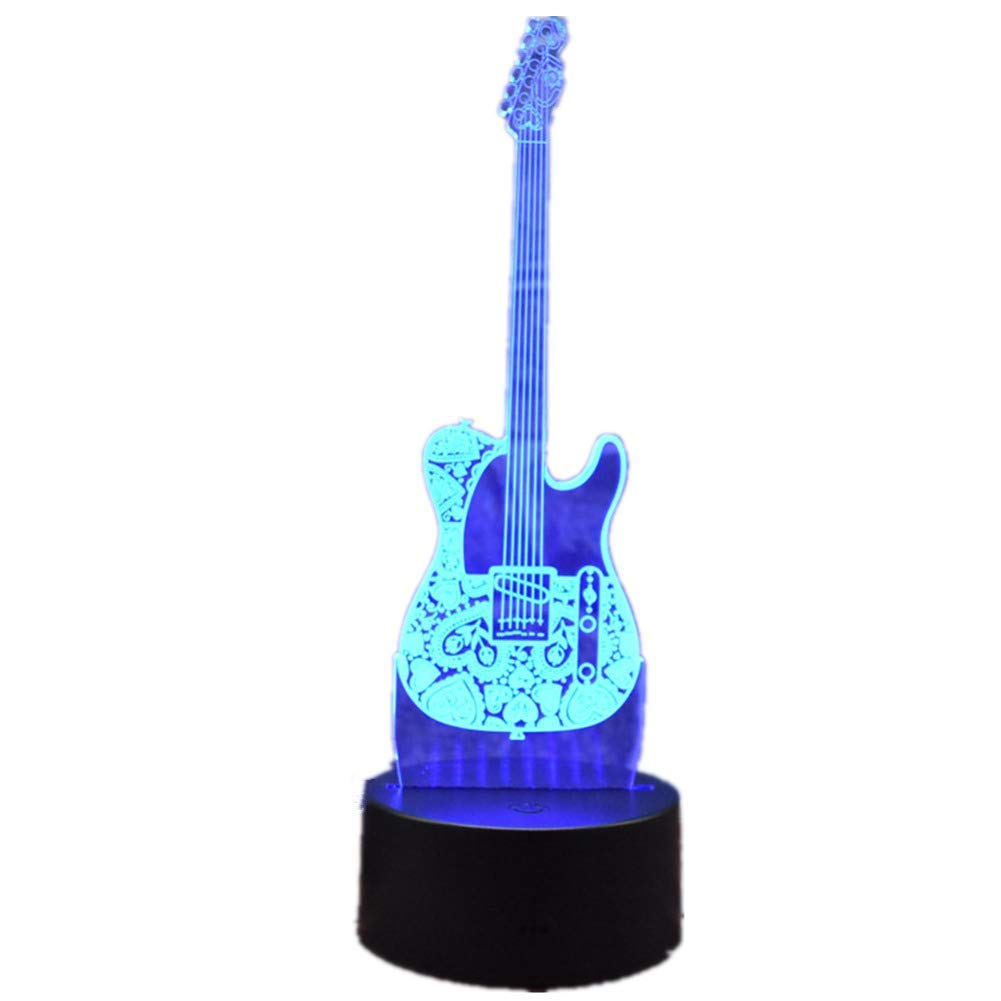 Novelty Lamp, Creative Night Light 3D LED Fashion Electric Guitar Home Office Decoration Touch Remote Control 16 Color Acrylic USB/Battery Table Lamp Bedroom Light Birthday Toy Gift Ambient Light