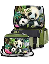 Kidaroo Precious Pandas School Backpack & Lunchbox for Girls, Boys, Kids