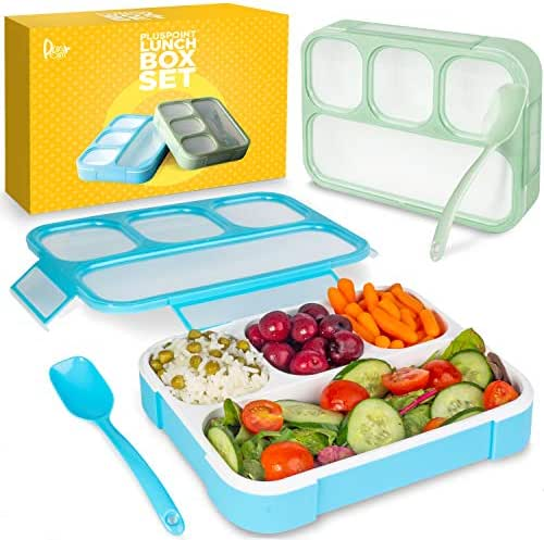 Bento Lunch Box Container For Kids and adults, 2 Leakproof Food & Meal Prep storage With 4 Compartments + Cutlery Perfect For Healthy Food & Snacks BPA & FDA Free Microwave Dishwasher Safe - PLUSPOINT